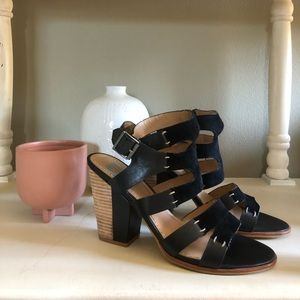 Black Leather and Suede Sandals